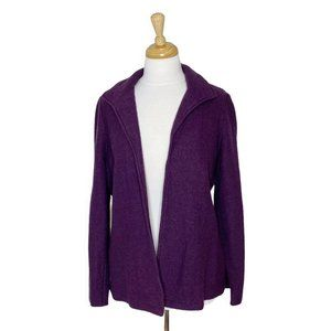 Chico's Boiled Wool Open Front Collared Cardigan